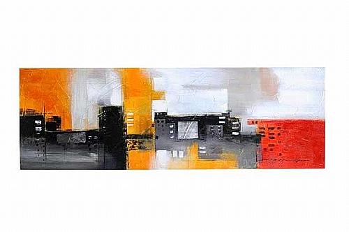 Toile reproduction l 150 x 50 abstrait rouge orang for Miroir 50 x 50