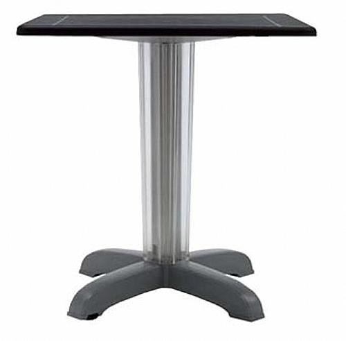 Table haute ronde maupiti alu anodis plat en poly for Table exterieur aluminium anodise