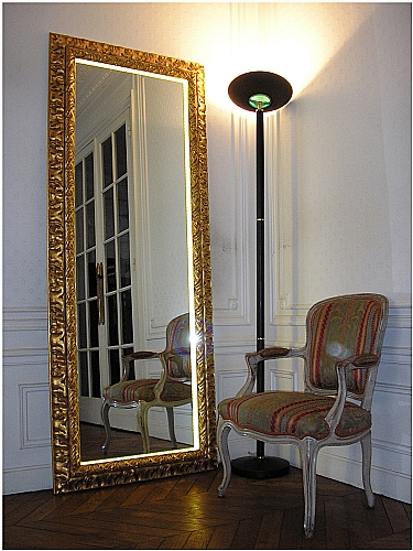 Miroir grand format avec led d coration tableaux for Miroir grand format